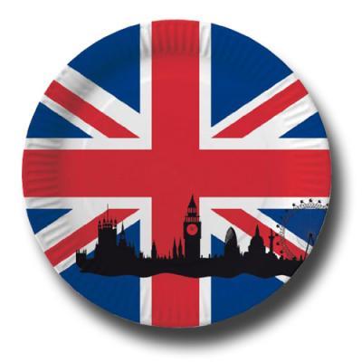 Pappteller mit Großbritannien Flaggenmotiv Union Jack