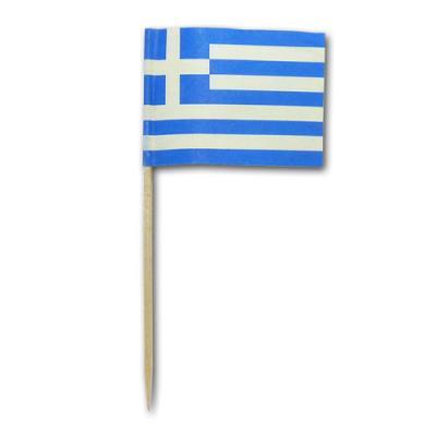 50 Stück Flaggenpicker Griechenland im Design der griechischen Nationalfahne.