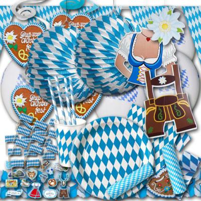 Oktoberfest Deko Set mit Partygeschirr und Partydeko im blau-weißen Bayern Raute Design.