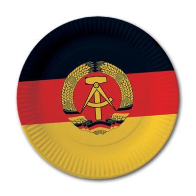 10 Pappteller mit DDR Flaggenmotiv