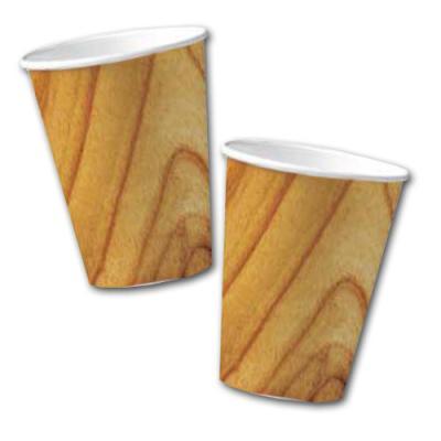 10 Pappbecher im Holzdesign.