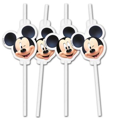6 Trinkhalme mit bunten Mickey Mouse und Donald Duck Motiven für das Kindergeburtstag Partygeschirr.