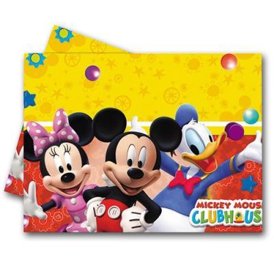 Tischtuch mit Motiven von Mickey Maus und seinen Freunden für den perfekt gedeckten Kindergeburtstag Partytisch.