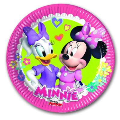 Bunte Pappteller mit Motiven von Minnie Mouse und Daisy Duck.