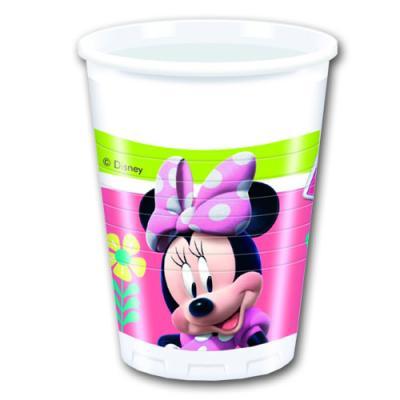 Bunte Plastikbecher mit Minnie Mouse Motiv für den Kindergeburtstag Partytisch.