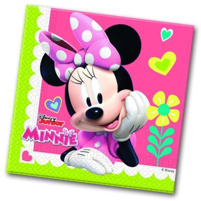 Papierservietten mit bunten Minnie Mouse und Daisy Duck Motiven für den Kindergeburtstag Partytisch.