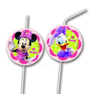 Transparente Strohhalme mit bunten Motiven von Minnie Mouse und Daisy Duck für die Kindergeburtstag Mottoparty.