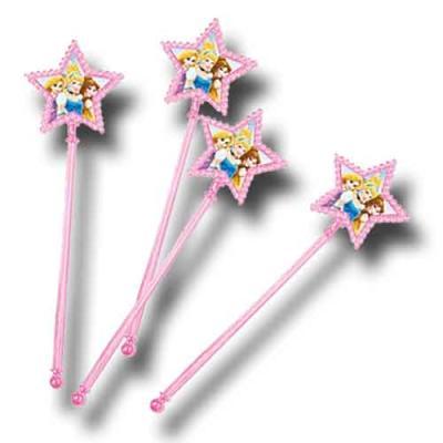 4 rosa Zauberstäbe als Partydeko und Mitgebsel für den Kindergeburtstag mit Partymotto Prinzessin.