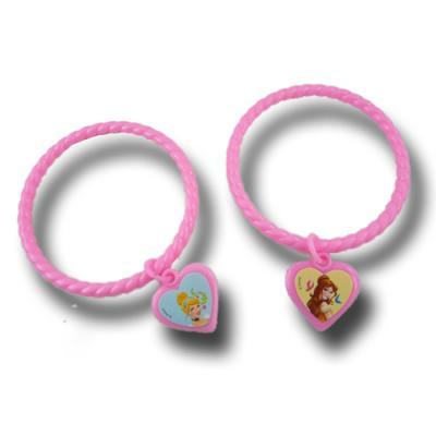 4 rosa Armreifen als Mitgebsel für den Kindergeburtstag mit Partymotto Prinzessin.