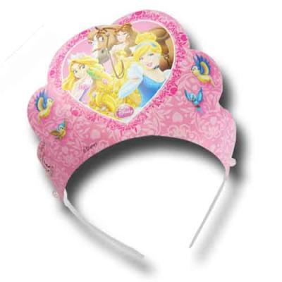 6 rosa Krönchen als Mitgebsel und Partydeko für den Kindergeburtstag mit Partymotto Prinzessinnen.