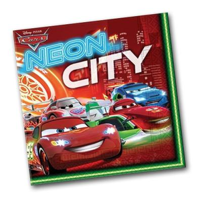"""Bunte Papierservietten mit passenden Motiven für den Kindergeburtstag """"Cars""""."""