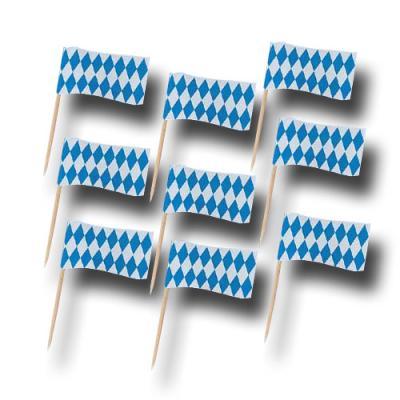 50 Partypicker mit Bayrischer Raute Flaggen.