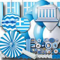 Blau-weißes Griechenland Partydekoset Basic zum...
