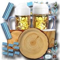 Oktoberfest Partybox mit Partygeschirr in Holzdesign