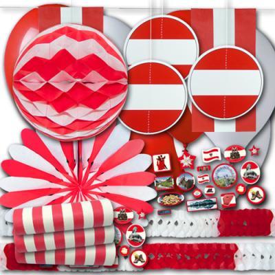 Rot-weiß-rotes Österreich Partydekoset BASIC zum Vorteilspreis.