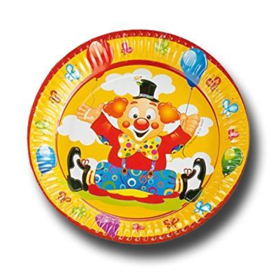 """""""Clown"""" Kindergeburtstag Pappteller   8 Stück"""