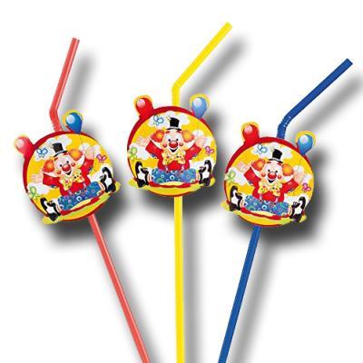 """Clown"" Kindergeburtstag Strohhalme | 8 Stück"