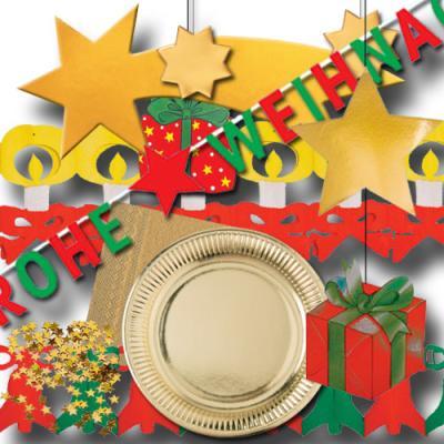 Dekoratives Partyset mit Partydeko und Partygeschirr für die weihnachtliche Mottoparty.