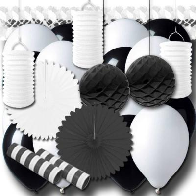 Partydeko schwarz-weiß Grundausstattung