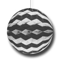 Partydeko Wabenball schwarz-weiß