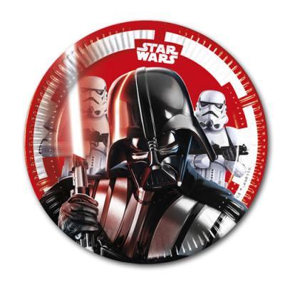 8 Kindergeburtstag Star Wars Pappteller mit Darth Vader Motiv.