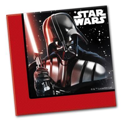 20 Papierservietten mit Darth Vader Motiv für die Star Wars Kindergeburtstag Mottoparty.