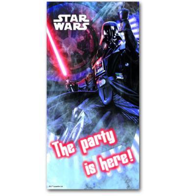 Dekorativer Türbanner mit Darth Vader Motiv für die Kindergeburtstag Mottoparty.