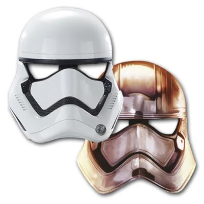 6 Storm Trooper Partymasken für den Kindergeburtstag Star Wars.