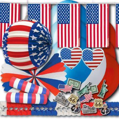 USA Partydekoset mit blau-weiß-roter Partydeko für die passende Länder Mottoparty.