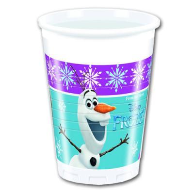 8 Trinkbecher mit Frozen - die Eiskönigin Motiv für den Kindergeburtstag mit Anna, Elsa, Olaf und Ihren Freunden.