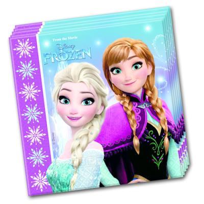 20 bunte Servietten für den Frozen Kindergeburtstag mit Motiv von Anna, Elsa und Olaf.