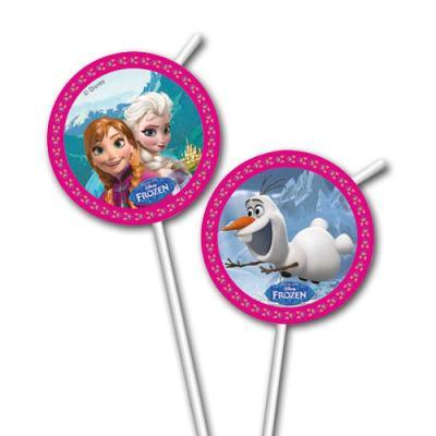 6 Trinkhalme mit passenden Motiven für den Frozen - Eiskönigin Kindergeburtstag.