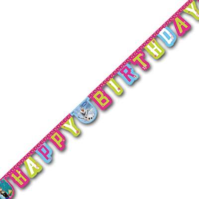"""1 bunte Buchstabengirlande HAPPY BIRTHDAY mit Motiven für den Kindergeburtstag """"Frozen - die Eiskönigin""""."""