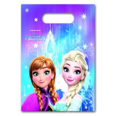6 Partytaschen mit Anna und Elsa Motiv für die Mitgebsel der Frozen Kindergeburtstag Mottoparty.