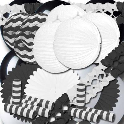 Partydeko schwarz-weiß groß