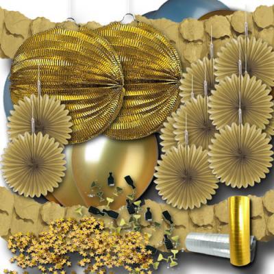 Goldenes Partydeko Set mit Girlanden, Luftballons, Lampions, Rosetten, Luftschlangen, Konfetti