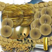 Goldenes Partydeko Set mit Girlanden, Luftballons,...