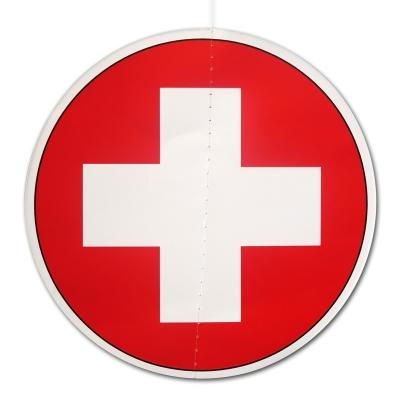 Dekohänger mit Schweiz Flagge Motiv aus Karton (beidseitig bedruckt, rund, ca. 13,5 cm DM)