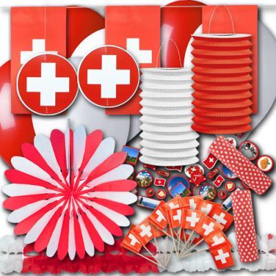 Rot-weißes Schweiz Flagge Partydekoset zum Vorteilspreis.