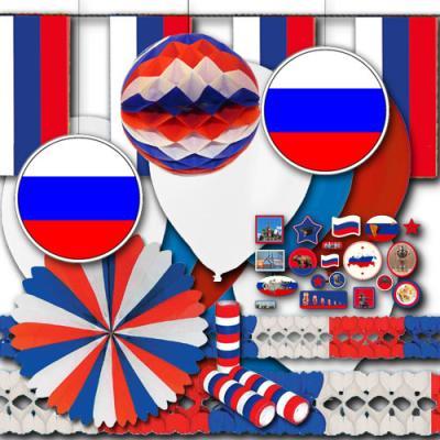 weiß-blau-rotes Russland Partydeko Set BASIC zum Vorteilspreis