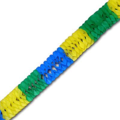 Papiergirlande (schwer entflammbar) blau-gelb-grün mit ca. 2 Meter Länge und ca. 8 cm Durchmesser.