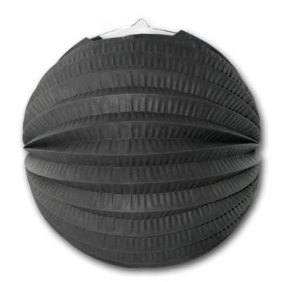 1 Lampion schwarz aus schwer entflammbarem Papier und Karton.