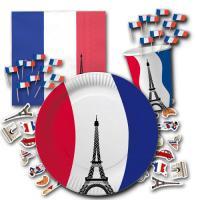 Partygeschirr Set Frankreich mit Tischdeko Frankreich.