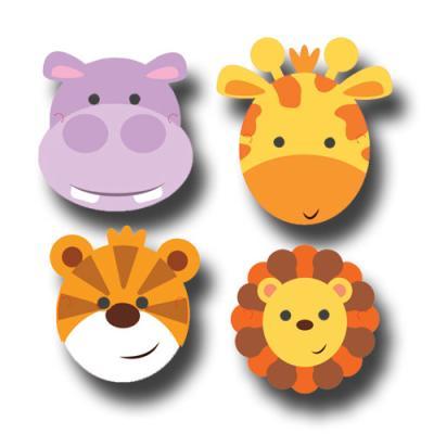 8 Partymasken mit Safari Tiermotiven (Giraffe, Tiger, Flußpferd, Löwe)