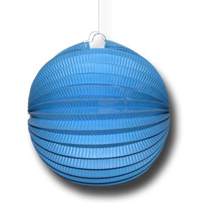 1 Partydeko Lampion blau aus schwer entflammbarem Papier, Karton und Draht.