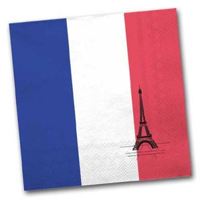 Papierservietten im Design der Frankreich Flagge und mit Eiffelturm Motiv.