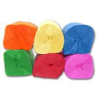 12 einfärbige Dekokrepp Rollen in 6 unterschiedlichen Farben.