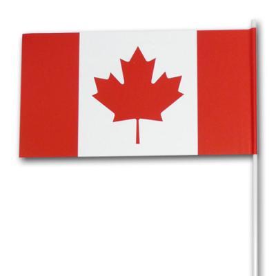Fähnchen am Kunststoffstab Kanada mit rot-weißem Ahorn Flaggen Motiv.