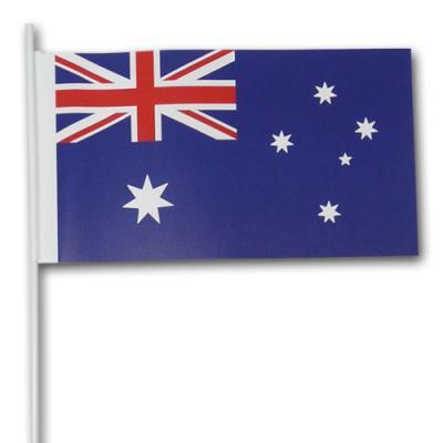 10 Fähnchen Australien am weißen Kunststoffstab
