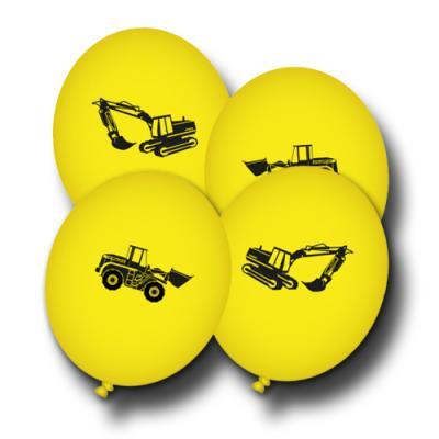8 gelbe Luftballons mit Baustelle Motiven